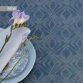 "Mille Ikats Petrole Tablecloth 61""x102"", 100% Cotton"