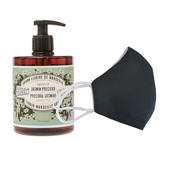 6 Washable protective masks GT9501 + 3 bottles of Precious Jasmine French Hand Soap.
