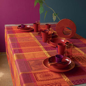 """Mille Wax Ketchup Tablecloth Round 71"""", 100% Cotton"""