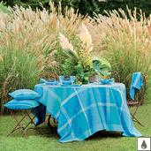 """Mille Gardenias Lagon 69""""x98"""" Tablecloth, Coated Cotton"""
