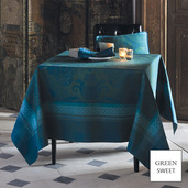 """Isaphire Emeraude Tablecloth 69""""x143"""", Green Sweet"""