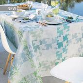"""Mille Hirondelles Menthol Tablecloth 61""""x102"""", 100% Cotton"""