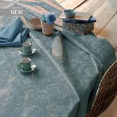 "Mille Charmes Bleu Louis XVI Tablecloth 71""x71"", 100% Cotton"