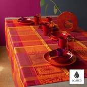 """Mille Wax Ketchup Tablecloth 69""""x98"""", Coated Cotton"""