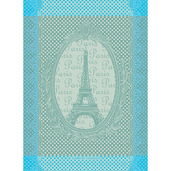 "Eiffel Vintage Celadon Kitchen Towel 22""x30"", 100% Cotton"