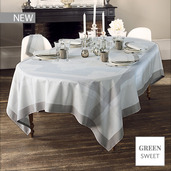 """Pompadour Grege Tablecloth 69""""x120"""", Green Sweet"""
