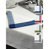 "Intramuri Slub White 69""x69"" Tablecloth with Blue Hemstitch"
