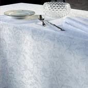 "Mille Charmes Blanc Tablecloth 71""x118"", 100% Cotton"