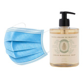 50 Disposable 3 layers masks + 3 bottles of Soothing Almond French Hand Soap.