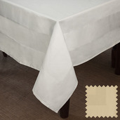 Satin Band Canaveral Sand Cotton Tablecloth Square 63x63
