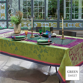 """Plaisirs D Automne Muscat Tablecloth 69""""x69"""", Green Sweet"""