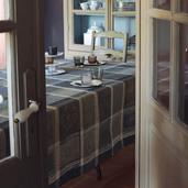 "Mille Wax Cendre Tablecloth 71""x118"", 100% Cotton"