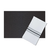Bistro White Polyester Napkin with Black Stripes, with matching Oslo Black Vinyl Placemat - Set of 4