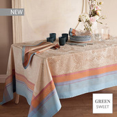 """Isaphire Iridescent Tablecloth 69""""x69"""", Green Sweet"""