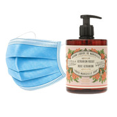 50 Disposable 3 layers masks + 3 bottles of Rose Geranium French Hand Soap.