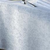 "Mille Charmes Blanc Tablecloth 71""x71"", 100% Cotton"
