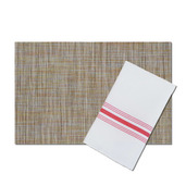 Bistro White Polyester Napkin with Red Stripes, with matching London Cocktail Vinyl Placemat, Set of 4