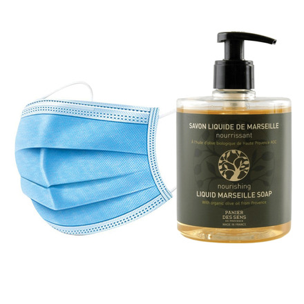 50 Disposable 3 layers masks + 3 bottles of Nourishing Olive Oil French Hand Soap. picture