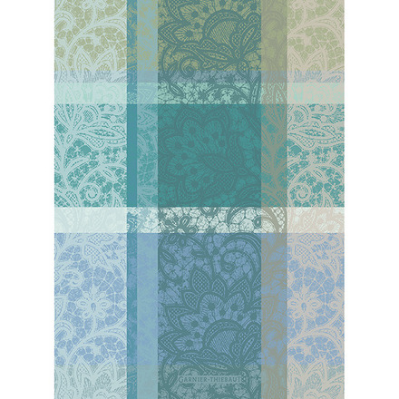 "Mille Dentelles Turquoise 22""x30"" Kitchen Towel, 100% Cotton picture"