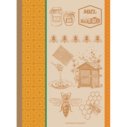 "Miel Et Abeilles Ocre Kitchen Towel 22""x30"", 100% Cotton picture"