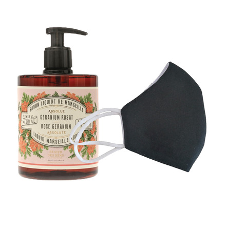 6 Washable protective masks GT9501 + 3 bottles of Rose Geranium French Hand Soap. picture