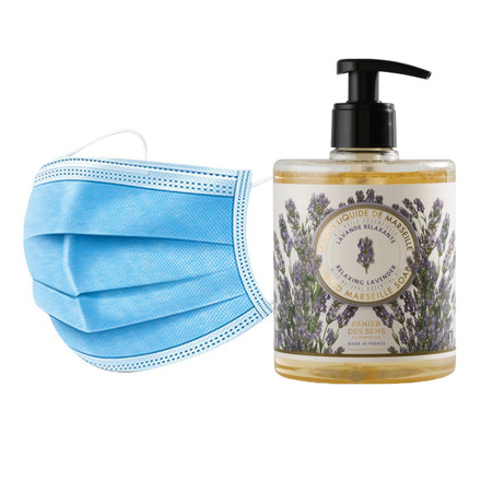 50 Disposable 3 layers masks + 3 bottles of Relaxing Lavender French Hand Soap. picture