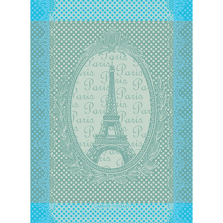 "Eiffel Vintage Celadon Kitchen Towel 22""x30"", 100% Cotton picture"