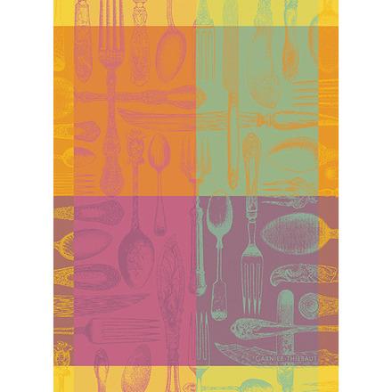 "Couverts Et Couleurs Orange Kitchen Towel 22""x30"", 100% Cotton picture"
