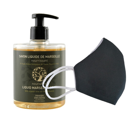 6 Washable protective masks GT9501 + 3 bottles of Nourishing Olive Oil French Hand Soap. picture