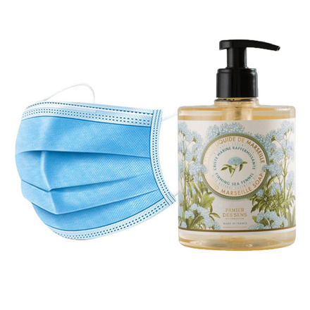 50 Disposable 3 layers masks + 3 bottles of Firming Sea Samphire French Hand Soap. picture