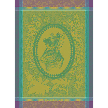 "Monsieur Lapin Vert Kitchen Towel 22""x30"", 100% Cotton picture"