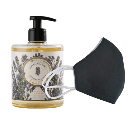 6 Washable protective masks GT9501 + 3 bottles of Relaxing Lavender French Hand Soap. picture