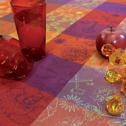 "Mille Alcees Feu Tablecloth Round 71"", 100% Cotton picture"