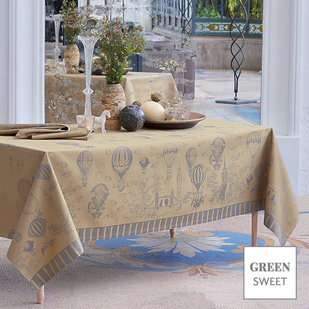 """Voyage Extraordinaire Or Pale Tablecloth 69""""x120"""", Green Sweet picture"""