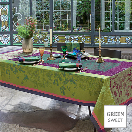 "Plaisirs D Automne Muscat Tablecloth 69""x120"", Green Sweet picture"