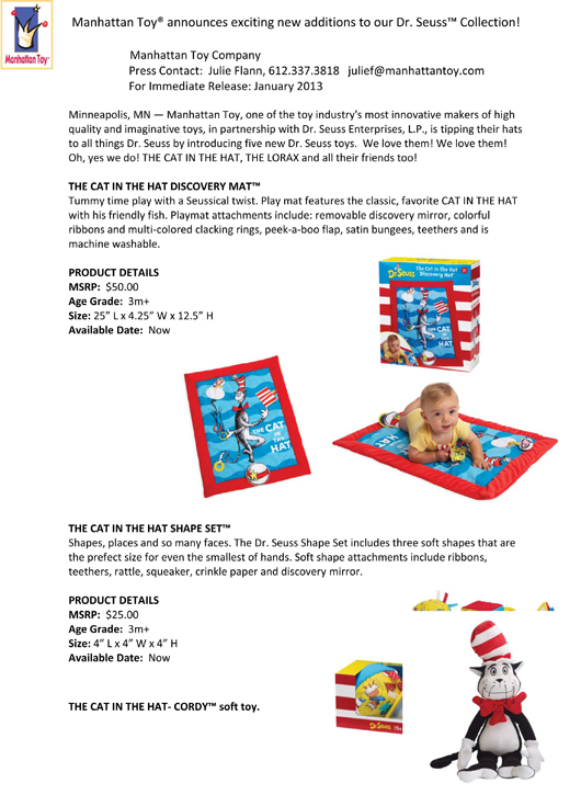 Manhattan Toy® announces exciting new additions to our Dr. Seuss™ Collection! pg 1