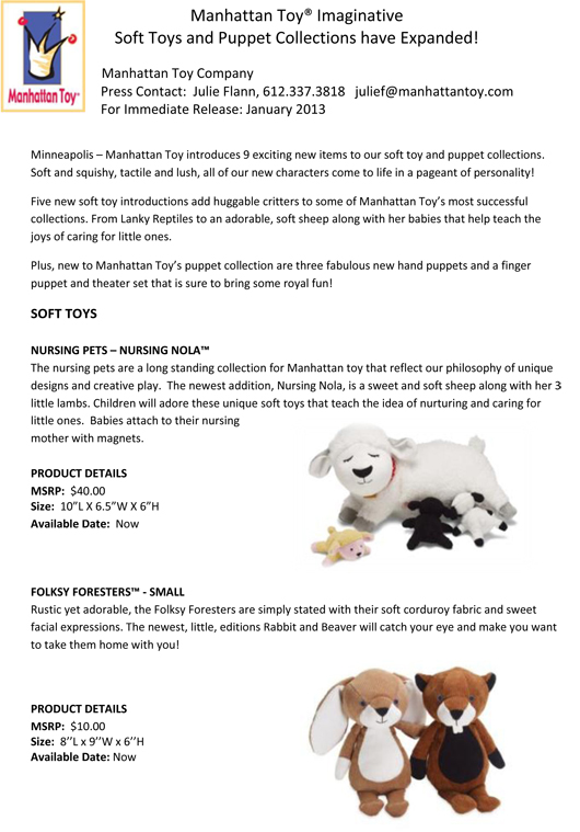 Manhattan Toy® Imaginative Soft Toys and Puppet Collections have Expanded! pg 1