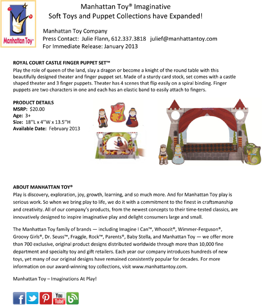 Manhattan Toy® Imaginative Soft Toys and Puppet Collections have Expanded! pg 3