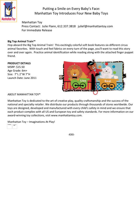Putting a Smile on Every Baby's Face: Manhattan Toy Introduces Four New Baby Toys pg 2