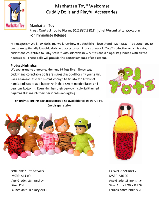Manhattan Toy® Welcomes Cuddly Dolls and Playful Accessories pg 1