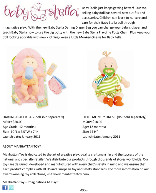 Manhattan Toy® Welcomes Cuddly Dolls and Playful Accessories pg 2