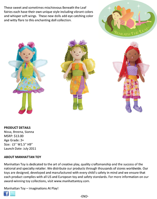 Manhattan Toy's Doll Collection Continues to Expand With Additions to Beneath the Leaf™ and Baby Stella™ pg 2