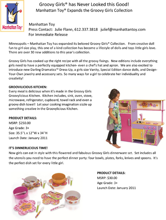 Groovy Girls® has Never Looked this Good! Manhattan Toy® Expands the Groovy Girls Collection pg 1