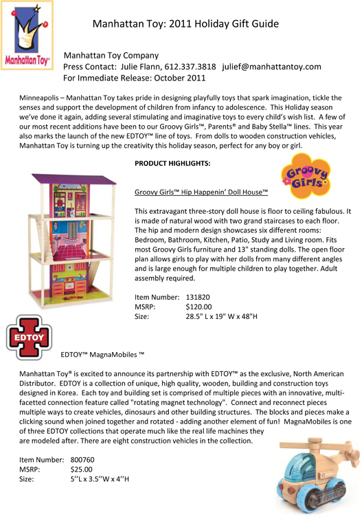 Manhattan Toy: 2011 Holiday Gift Guide pg 1