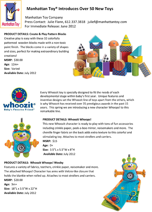 Manhattan Toy® Introduces Over 50 New Toys pg 3