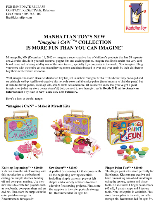 """MANHATTAN TOY'S NEW """"imagine i CAN™"""" COLLECTION IS MORE FUN THAN YOU CAN IMAGINE! pg 1"""