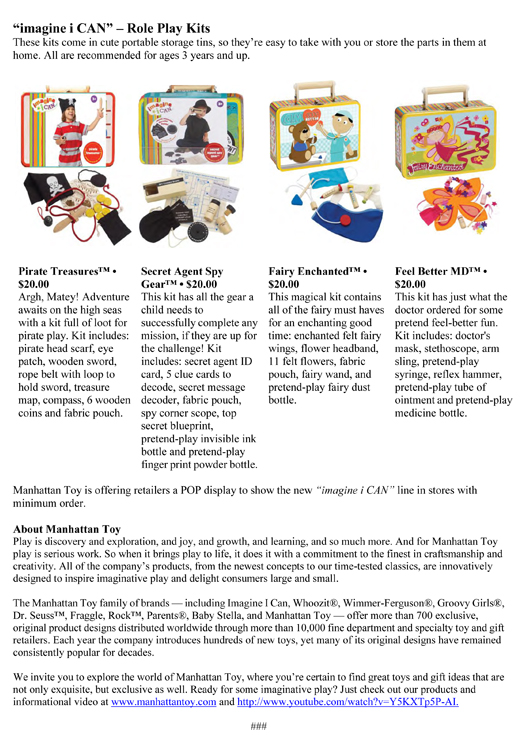 """MANHATTAN TOY'S NEW """"imagine i CAN™"""" COLLECTION IS MORE FUN THAN YOU CAN IMAGINE! pg 4"""