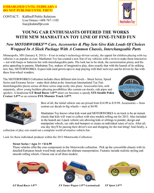 YOUNG CAR ENTHUSIASTS OFFERED THE WORKS WITH NEW MANHATTAN TOY LINE OF FINE-TUNED FUN pg 1