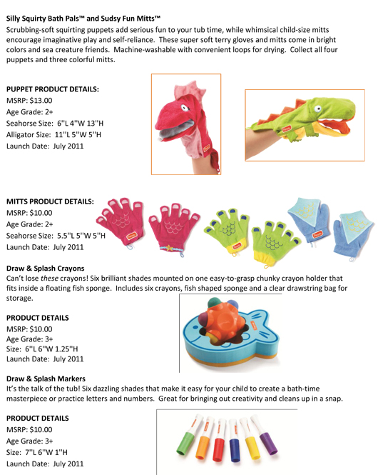 Manhattan Toy® is Filling your Tub with Delight: Parents® Adds Bath Time Toys to its Collection Plus a New Role Play Toy pg 2