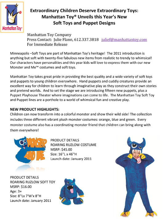 Extraordinary Children Deserve Extraordinary Toys: Manhattan Toy® Unveils this Year's New Soft Toys and Puppet Designs pg 1